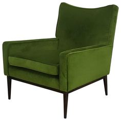 Lounge Chair by Paul McCobb in Lush Green Velvet, 1950s | From a unique collection of antique and modern lounge chairs at https://www.1stdibs.com/furniture/seating/lounge-chairs/