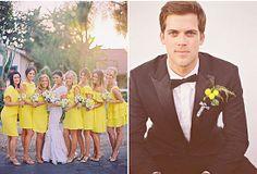 Yellow Bridesmaid Dresses | yellow wedding theme inspiration
