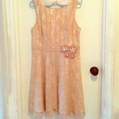Pale pink lace dress This is a gorgeous tea length lace dress. Worn a few times but in really great condition. Miss Sixty Dresses Midi
