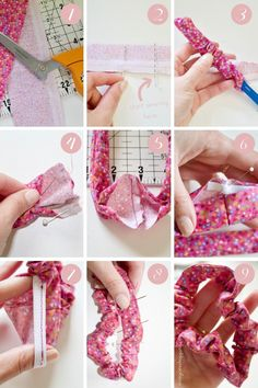 DIY J.Crew Inspired Bow Scrunchie - Mia Goes Shopping - DIY ° Haarbänder & Co - DIY Bow Scrunchie Best Picture For hair scrunchie hairstyles messy buns For Your Taste You are lo - Sewing Patterns Free, Sewing Tutorials, Sewing Crafts, Sewing Projects, Diy Projects, Diy Hair Scrunchies, How To Make Scrunchies, Costura Diy, Diy Bow