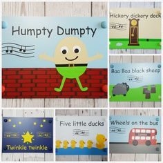 Our door signs, made in UK, weather proof, fade resistant, designed by Micki Willows (copyright) Little Duck, Five Little, Hickory Dickory Dock, Baa Baa Black Sheep, Uk Weather, Wheels On The Bus, Uk Images, Humpty Dumpty, Made In Uk
