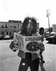 Paul Stanley during the Creem photo shoot, 1974. For some reason they allowed photos without makeup for this shoot, but quickly squelched them.