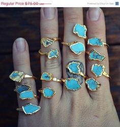 ON SALE LUX Divine /// Semi Adjustable Turquoise Wrap Ring /// Stackable Gemstone Gold Electroformed Ring