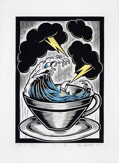 Chris Bourke. Storm in a Teacup (Colour). Hand painted lino print on Arches 300gsm watercolour paper.