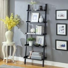 Briarwood Home Decor Espresso Finish Wood Leaning Bookcase (White - White Finish) Ladder Shelf Decor, Ladder Bookcase, Bookcase White, Leaning Bookshelf, Style At Home, Wall Ladders, Living Room Furniture, Living Room Decor, Office Furniture