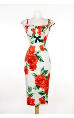 Pinup Couture- Erika Dress with Bolero in Vintage Red Rose | Pinup Girl Clothing