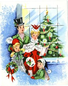 Vtg Christmas Card Victorian Carolers Pretty Girls Christmas Tree FRONT ONLY