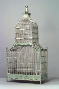 English #Victorian celadon painted and floral decorated pagoda top hanging bird cage with gold finial #Steampunk