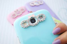 Samsung Galaxy S3 SIII Pastel Rainbow Cell Phone Case with Bow and Rhinestone Camera