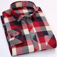 Blue Red Plaid Men Shirt Fashion Spring Casual Shirt New Thicken Cotton Long Sleeve Male Flannel Social Dress Shirt