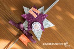 """Love2beCreative.de Stampin' Up!  Silvestertischdeko aus Wunderkerzen Anlässe und Feiertage, Brombeermousse / Blackberry Bliss, Ein Gruß für alle Fälle / A Fitting Occasion, Flüsterweiß / Whisper White, Framelits Sternen-Kollektion, Geburtstagskracher / Amazing Birthday, Goodies (Kleine Aufmerksamkeiten), In-Colors 2014 - 2016, Kreis 1"""" (2,5cm), Mandarinorange / Tangerine Tango, SilvesterWunderkerzen hübsch verpackt für jeden Gast als Goodie - Silvester Tischdeko"""