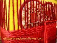 Let kids weave right onto creeal boxes.  the container becomes the loom!  Great DIY storage!