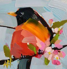 Robin Connecticut State Bird original oil by Angela Moulton prattcreekart