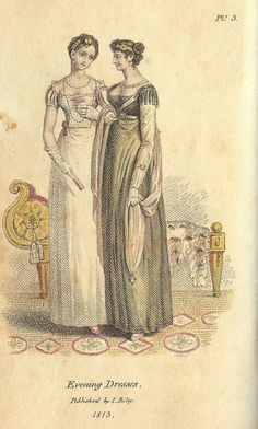 Mirror of the Graces, Evening Dresses, 1813. Cute little headbands! You don't see those often, but they are quite fetching!