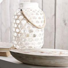 Lanterne en bambou blanchi avec poignée | Bouclair.com Decoration, Jar, Home Decor, Lantern, Bamboo, Wall Art, Decor, Decoration Home, Room Decor