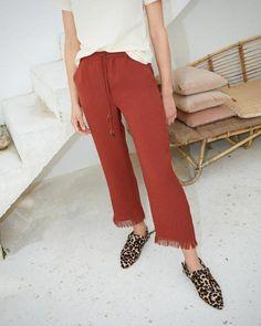 Nanushka BLAZE - brick loungewear pants with fringed hem