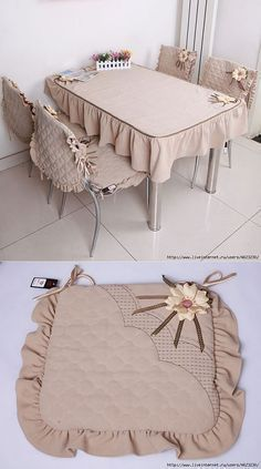 Coser el mantel y las fundas a las sillas (la cocina, de mesa).Sew cloth and chair covers (kitchen, dining room).Discover thousands of images about Your sewing machine is probably the largest item in your sewing space. When you're sewing, you need ea Furniture Covers, Chair Covers, Table Covers, Home Decor Furniture, Cushion Covers, Diy Home Crafts, Diy Home Decor, Sewing Crafts, Sewing Projects
