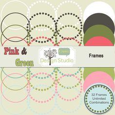 Nested Digital Labels Pink & Green Vintage by RhodaDesignStudio