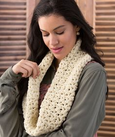 Very V-Stitch Cowl - If you know how to chain and how to do a double crochet, then you can do a V-stitch. It's perfect for a quick drape-y cowl in this tubular jersey yarn. You'll love how nice it feels!