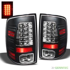 For 2009-2014 Dodge Ram LED Black Tail Lights Lamps Rear Brake Pair Taillights