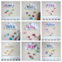 Rainbow Cloud Personalized Baby Mobile Wall by MaisieMooNZ, $39.00