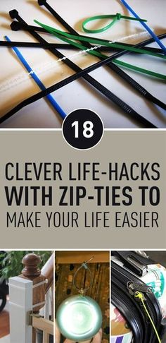 We all have used zip-ties in certain situations, but we're missing out on other uses of zip-ties. Zip-Ties has many uses that can make our lives easier and can be used as a replacement for many things we need. What's best about zip-ties, is that they are so simple to use and very inexpensive. Take a look at these ideas and life hacks you can do using zip-ties.