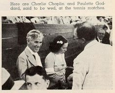 Charlie Chaplin & Paulette Goddard attend the Pacific Southwest Tennis Tournament in Los Angeles, September 1934. Charlie talking to Rupert Hughes (writer, director, music composer).