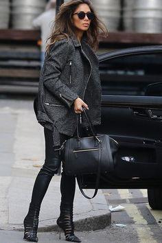 Nicole Scherzinger wearing AllSaints Sinai Biker Jacket, Nicole Scherzinger London December 12 2013