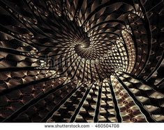 Abstract fractal background - computer-generated image. Fractal geometry - unusual spiral tunnel. Trendy digital art for prints, covers, web-design