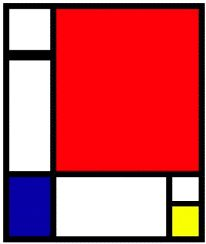 Composition in Red, Yellow and Blue by Piet Mondrian #Piet_Mondrian #Golden_Ratio