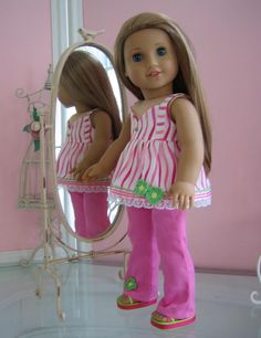 Etsy Transaction - Cami Suntop, Sandals and Pants made to fit 18 inch American Girl doll, pink