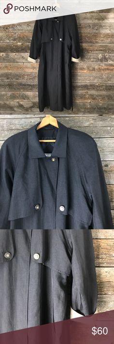 """15/16 J. Gallery Light charcoal gray trench coat ▪️23.5"""" armpit to armpit ▪️approx 52"""" in length ▪️has """"concealed"""" buttons ▪️has 2 extra replacement buttons ▪️shoulder pads J. Gallery Jackets & Coats Trench Coats"""