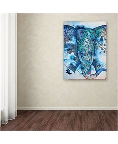 """Trademark Global Oxana Ziaka 'Blue Elephant' Canvas Art - 24"""" x 18"""" x 2"""" & Reviews - Wall Art - Macy's Elephant Canvas Art, Elephant Print, Line Patterns, Art Pieces, Tapestry, Blue, Collection, Hanging Tapestry, Tapestries"""