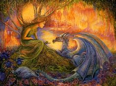 The Dryad and the Dragon- Hidden away from prying eyes & deep in a colorful forest these 2 magical beings are enjoying getting to know each other. Resting in her roots the young dragon shows no fear of the Willow Dryad as she offers him an exotic fruit & in return the Dryad feels very safe with her scaly companion. She hopes that they will become friends forever & that he will visit her often with tales of the world outside of her forest realm.