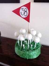 Golf Cake ball birthday gift. Could do golf ball cake pops @Wendi Weaver