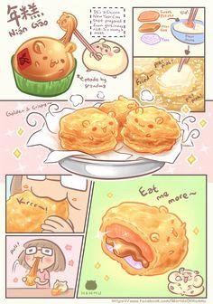 Hammu_The Gourmet Hamster :: Recipe - Nian Gao Cute Food Drawings, Cute Kawaii Drawings, Cute Animal Drawings, Food Doodles, Kawaii Doodles, Cute Doodles, Arte Do Kawaii, Kawaii Art, Cute Anime Wallpaper