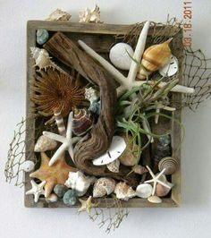 8 Favorite Beach Craft Ideas is part of Beach crafts Ideas - These 8 beach craft ideas are some of my top favorites Projects that utilize treasures gathered along the shore in the most creative way H Sea Crafts, Nature Crafts, Diy And Crafts, Kids Crafts, Driftwood Projects, Driftwood Art, Seashell Art, Seashell Crafts, Crafts With Seashells