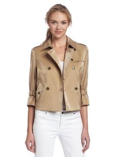 AK Anne Klein Women's Luster Cloth Cropped Trench Coat, Gold, Medium coupon| gamesinfomation.com