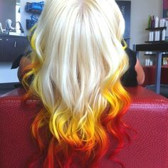hair, hair color, multi-colored hair, blonde hair, red hair, orange hair, yellow hair, red, orange, yellow, flames