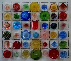 """42 Vintage Colorful Glass """"Depression"""" Buttons Sold for $32.25"""