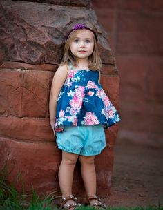 Floral Blue Summer 2 Piece Outfit Shorts Bloomers Hot Pink Shorties Girls Outfit Photo Shoot Girls Set by InspiredFlair on Etsy