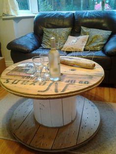 Cable drum coffee table shabby chic