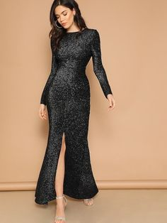 9f554a05 Shop Open Back Slit Glitter Mermaid Prom Dress online. SHEIN offers Open  Back Slit Glitter Mermaid Prom Dress & more to fit your fashionable needs.
