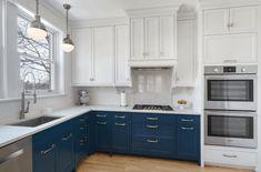 cocina moderna gabinetes blanco azul