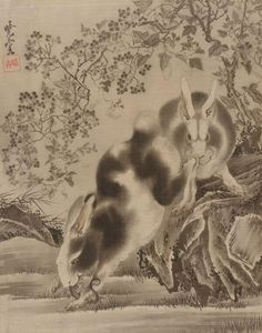 Karen: Notice how well soft and hard line/shape are contrasted. Rabbits Kawanabe Kyōsai (Japanese, Period: Meiji period Date: century Culture: Japan Medium: Album leaf; ink an. Hokusai, Fine Art Prints, Canvas Prints, Art Japonais, Rabbit Art, Ohara Koson, Japanese Painting, Japanese Prints, Japan Art