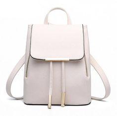 Women Backpack High Quality PU Leather Mochila Escolar School Bags For Teenagers Girls Top-handle Backpacks Herald Fashion Women's Mini Backpack, Backpack Travel Bag, Fashion Backpack, Ladies Backpack, Travel Bags, Drawstring Backpack, Rucksack Backpack, White Backpack, Travel Luggage