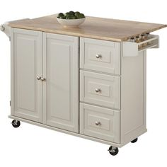 Kuhnhenn Kitchen Cart with Wood Top & Reviews | Birch Lane Beautiful Kitchens, Cool Kitchens, Galley Kitchens, Dream Kitchens, Ikea, Kitchen Doors, Wooden Kitchen, Kitchen Cupboards, Kitchen Pantry