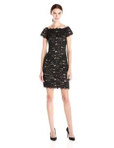 6af70345f2f1 Adrianna Papell Womens Off The Shoulder Lace Sheath Dress Black Nude 8 --  Details