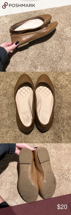 Tan Vince Camuto Flats Leather upper, man made lining, and man made sole. Super cute and comfortable, they can dress up a casual outfit or fit in with a business outfit. Vince Camuto Shoes Flats & Loafers