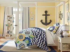 blaue und gelbe Töne Himmelbett Wanddeko Anker
